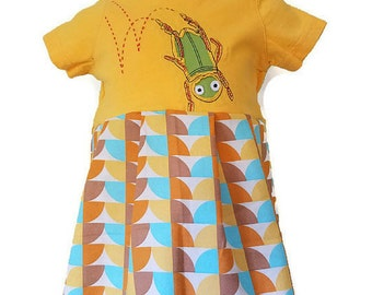 Girls Grasshopper Handmade Dress or Top, Size 6 months, 6-9 Months, Bugs Handmade Dress, Infant Dress by We Wear What We Want!