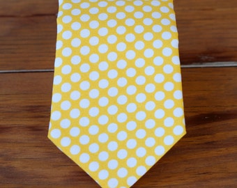 Mens yellow polka dot cotton necktie - golden yellow and white neck tie for men - necktie for men and teen boy - mens wedding necktie - gift