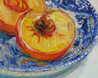 Mid Summer Peach original acrylic mixed media painting by Polly Jones