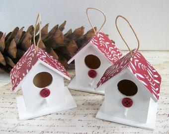 Wood birdhouse unusual Christmas ornaments rustic decorations, red and white