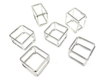 Rhodium Plated Geometric Square Wire Ring - Square (1x) (K501-B)