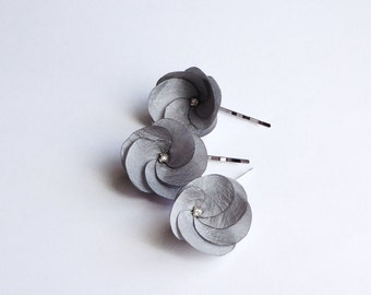 3 Gray Fabric Flowers Hair Pins
