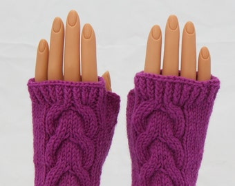 Magenta Wool Arm Warmer Fingerless Mitts or Gloves
