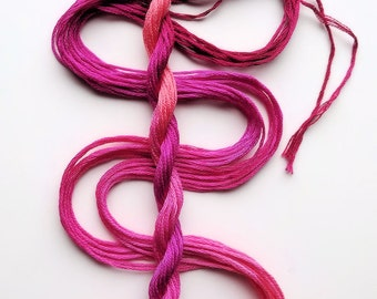 """Embroidery floss """"Raspberry Sorbet"""" hand dyed cotton"""
