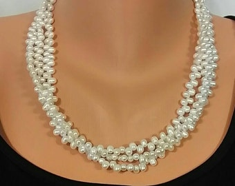 Natural Freshwater Dancing Pearls Triple Strand Necklace