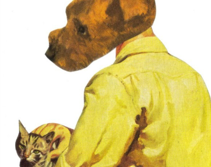 Pet Friendship Artwork, Cat and Dog Best Friends Art Collage