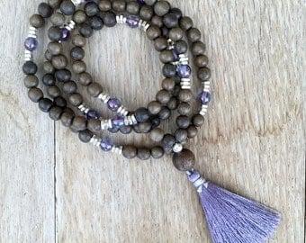 Mala inspired stretch bracelet or necklace dark gray and lavender