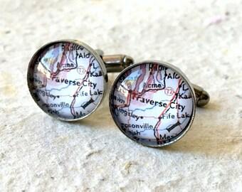 Traverse City Map Cufflinks - Pick Your Map Cufflink Set - Custom Map Cuff Link Set