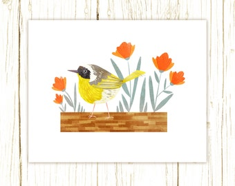 Common Yellowthroat Print -- bird art -- bird art 52 birds stephanie fizer coleman illustration warbler