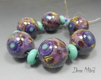 SRA HANDMADE LAMPWORK Glass Bead Set of 13 Donna Millard organic purple cranberry pink raku yellow teal turquoise