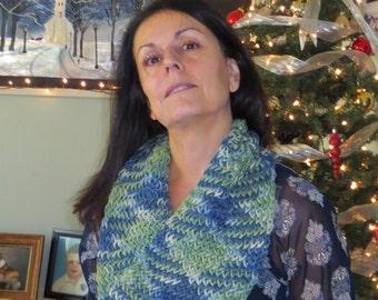 Warm Tri Colored Cowl Scarf