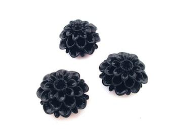 6 black 21mm mum flower cabochons, big chrysanthemum cabs