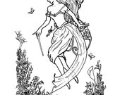 Downloadable coloring page The Springing fantasy spring faery nature