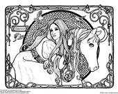 Downloadable coloring page Rhiannon Epona fantasy art nouveau