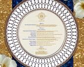 Deluxe Monogram Round Wedding Menu Cards