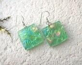Large Earrings, Green Earrings, Dangle Drop Earrings, Dichroic Earrings, Glass Earrings, Fused Glass Jewelry,OOAK Dichroic  021614e100