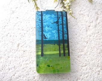 Birds in Forest,Tree Scene, Dichroic Pendant, Necklace Included, Forest Necklace, Dichroic Jewelry, Fused Glass Jewelry,  080816p103