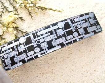 Large Silver Black Barrette, Black Silver Clip,  Dichroic Glass Barrette, Hair Clip, French Barrette. Fused Glass Jewelry 120215ba106