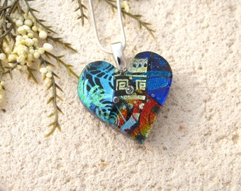Small Blue Heart Necklace, Dichroic Heart Necklace, Fused Glass Jewelry, Dichroic Jewelry, Blue Necklace, Silver Necklace, 041816p108
