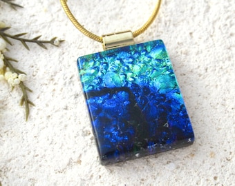 Aqua Cobalt Blue Necklace, Dichroic Jewelry, Glass Jewelry, Fused Glass Jewelry, Fused Glass Pendant, Dichroic Glass Necklace,  060316p116
