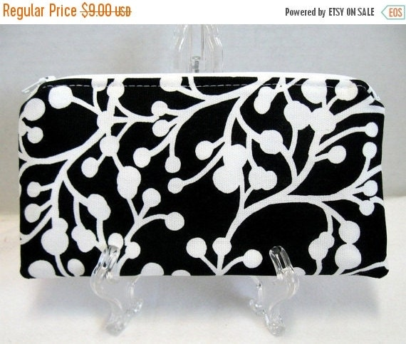 40% Off Zippered Pouch - Berries Branches - Black White Zip Pouch - Zip Coupon Holder