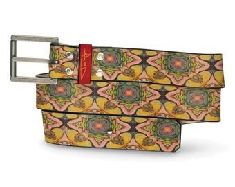 Spiritual Alchmey Leather Belt, Multi-Colored Leather Belt, Graphic Leather Belt