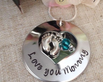 New Mother Mommy Domed Heart Peekaboo Pendant Personalized Locket with Birthstone and Chain NC008
