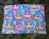 Hippo zip bag, makeup case, accessory bag, zippered pouch, zippered bag, The Scooter