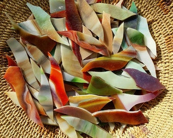 Red, Green, White Striated Glass Shards for Mosaic Art Designing