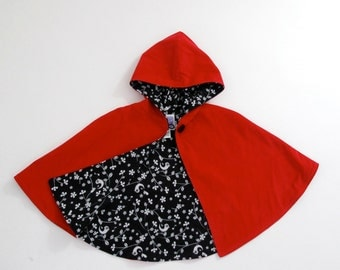 Little Red Riding Hood Cape with Bird, Chevron, Gray, or Rose Lining | Baby, Toddler, Girls Cape - Sizes Newborn to Girls 9/10 - Cloak, Coat
