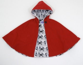 Little Red Riding Hood Cape with Fox, Chevron, Gray, or Rose Lining | Baby, Toddler, Girls Cape - Sizes Newborn to Girls 9/10 - Cloak, Coat