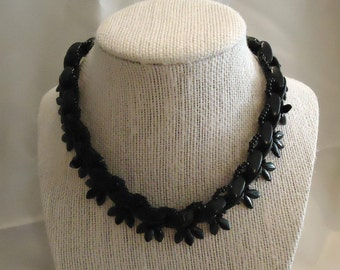 Necklace Black Glass Choker Style Made in Germany Beaded Onyx Colored Seed Beads Vintage 1960's Costume Jewelry Accessories