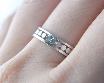 Dotted Band stacking ring set - sterling silver flat dots square bands - three stackable rings - geometric ring - geo jewelry - CleoNera Set