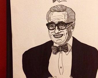 Martin Scorsese 8.5 x 11 ink line drawing portrait