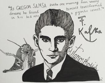 Franz Kafka 9x12 original ink line drawing Metamorphosis