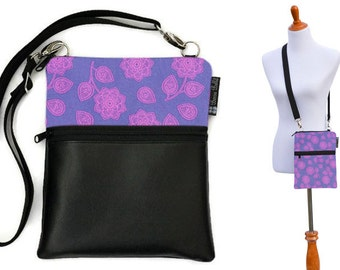 Crossbody Travel Purse - Shoulder Bag - Shoulder Purse fits tablets  Cross Body Purse / Faux Leather / FAST SHIPPING - Purple Haze Fabric