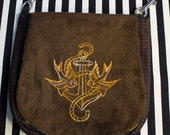 Pouch Spare Pocket Embroidery Sparrow and Anchor