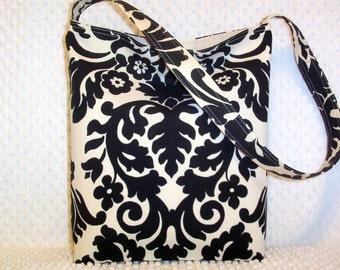 Black Damask Purse - Damask Shoulder Bag - Handmade Damask Bag - Hobo Bag Purse - Damask Handbag - Gift for Her - Handmade Gift Under 50