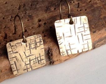 Hammered Earrings, Square Earrings, Textured Earrings, Metalwork Earrings, Etsy, Etsy Jewelry, Raw Brass Earrings