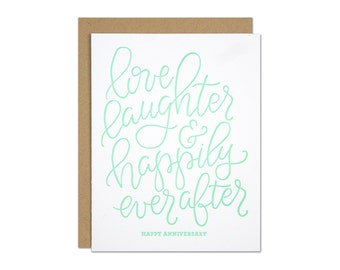 Love & Laughter Anniversary Letterpress Card