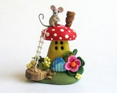Miniature  Whimsical Fairy Toadstool Mouse House  OOAK by C. Rohal