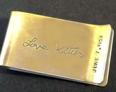 Personalized Own Handwriting Brass Sterling Silver Money Clip by donnaodesigns