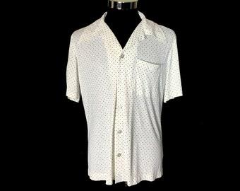 Men's Vintage Short Sleeve Shirt, 1970's, Disco, Black Dots on White, Big Collar, Polyester, Medium