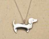 dachshund necklace - sterling silver