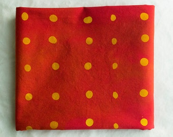 Wasabi Peas hand Dyed and Patterned Cotton Fabric/ Marigold and Red