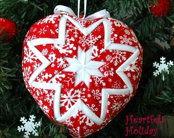 Quilted Snowflake Heart Christmas Ornament - Heartfelt Holiday