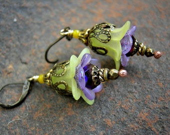 Spring Flower Earrings, Thinking of Spring, Soft Yellow & Lilac, Fairy Bell Earrings, Boho Chic, Faery Couture, Elksong Jewelry