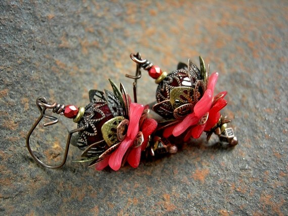 Crimson Lotus Earrings, Fairy Flowers, Antiqued Copper & Brass, Whimsical Faery Couture, Colorful Boho Chic,  Elksong Jewelry