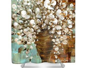 Floral Designer Shower Curtain Art- white blossom flowers bouquet shower curtain, bathroom home decor, abstract modern design by Susanna