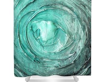 Teal Shower Curtain Aqua Blue Vortex Green Grey DesignerAbstract Serene Calming Water Art modern, bathroom home decor by Susanna